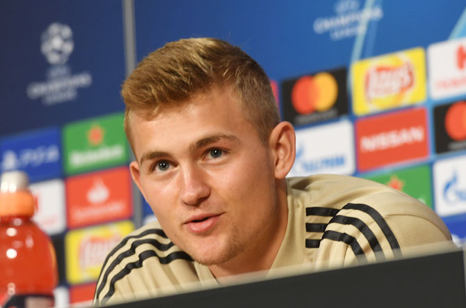 Ajax Amsterdam's Matthijs de Ligt during the press conference. Ajax, four-times European Cup winners who are in the knockout stages for the first time in 13 years, have enhanced their reputation as a talent factory due to the rise of homegrown Dutch players Frenkie de Jong and Matthijs de Ligt.