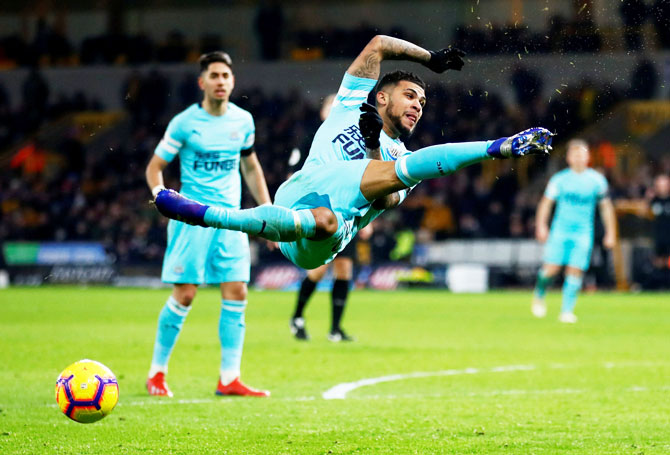 Newcastle United's DeAndre Yedlin in action during the English Premier League match against Wolverhampton Wanderers at Molineux Stadium, Wolverhampton, on Monday, February 11.