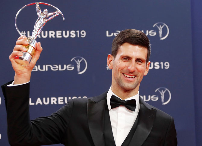 Rediff Sports - Cricket, Indian hockey, Tennis, Football, Chess, Golf - Laureus awards PHOTOS: Top honours for Djokovic, gymnast Biles