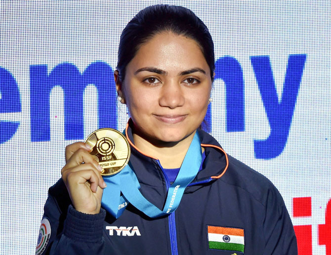Gold medallist India's Apurvi Chandela at the medal ceremony after winning the final of women's 10m Air Rifle during the ISSF World Cup in New Delhi on Saturday, February 23
