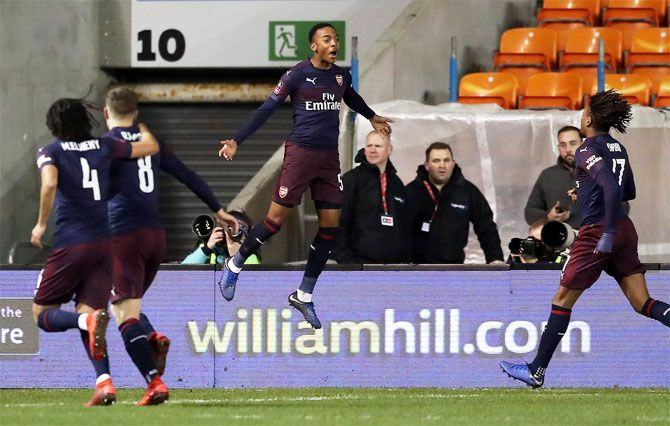 Joe Willock celebrates after scoring against Blackpool in their FA Cup match on Saturday