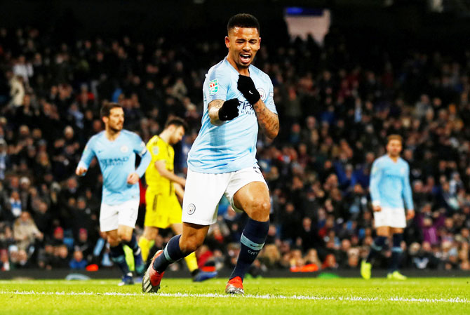 Manchester City's Gabriel Jesus celebrates scoring their fifth goal to complete his hat-trick during the League Cup semi-final first leg at Etihad Stadium in Manchester on Wednesday