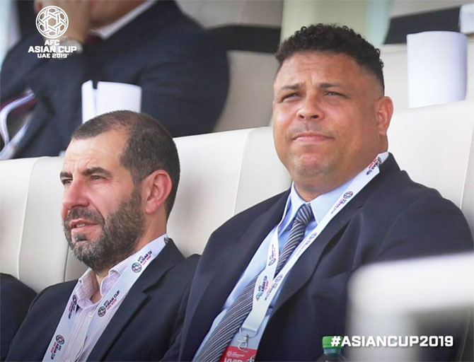 Former Brazil striker Ronaldo was spotted at the Asian Cup football match on Wednesday