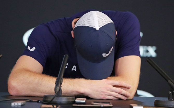 Andy Murray breaks down during the press conference