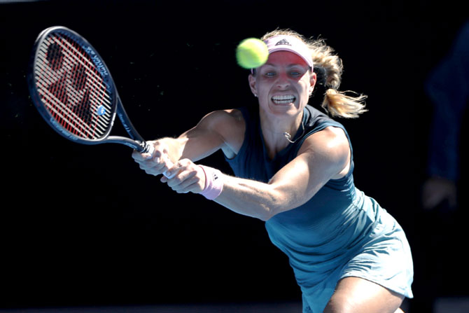 Germany's Angelique Kerber in action during the match against Slovenia's Polona Hercog