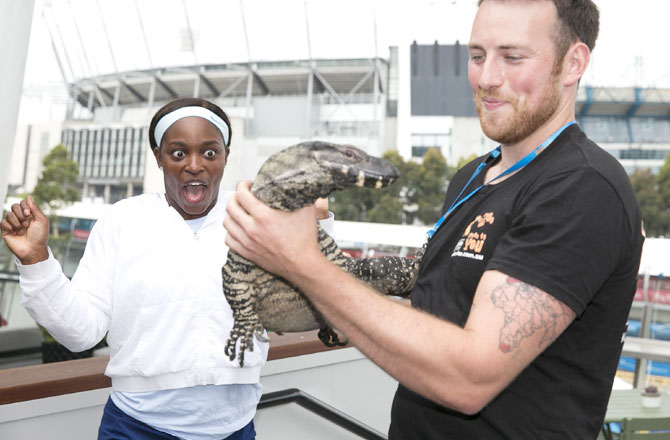 Sloane Stephens is left wide-eyed as she meets a goanna