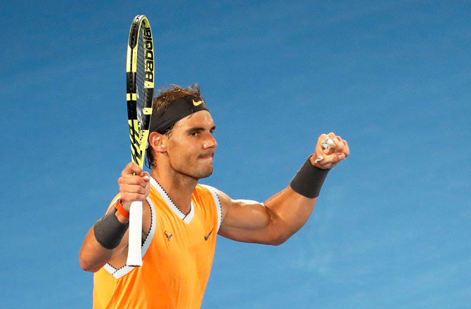 Spain's Rafael Nadal celebrates after defeating Australia's Alex de Minaur to enter the fourth round of the Australian Open