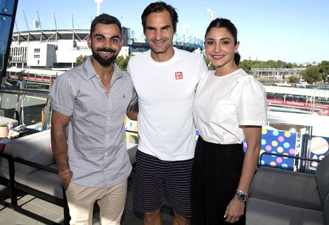 Virat Kohli and wife Anushka meet Roger Federer on Saturday, January 19
