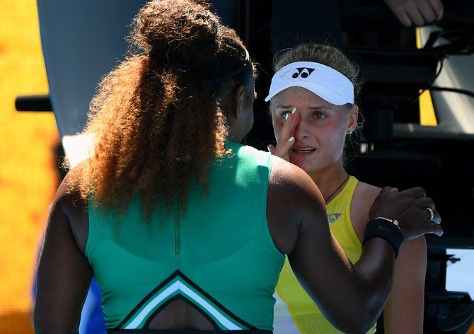 USA's Serena Williams consoles Ukraine's Dayana Yastremska after winning their third round match on Saturday, January 19