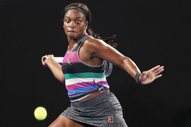 USA's Sloane Stephens plays a forehand in her fourth round match against Russia's Anastasia Pavlyuchenkova on Sunday, January 20