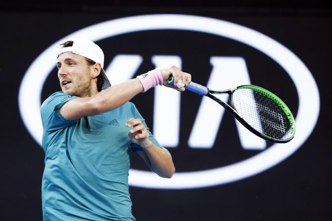 France's Lucas Pouille in action during their fourth round match against Croatia's Borna Coric
