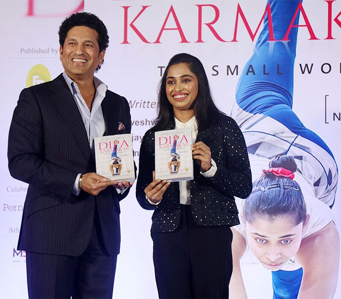 Sachin Tendulkar at the Mumbai book launch of Dipa Karmakar's biography -- Dipa Karmakar - The Small Wonder