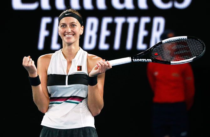 Czech Republic's Petra Kvitova celebrates after defeating USA's Danielle Collins during the Australian Open semi-finals in Melbourne on Thursday