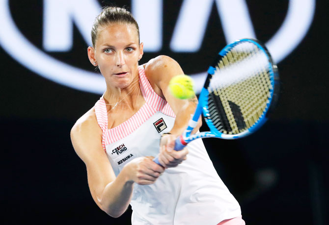 Czech Republic's Karolina Pliskova in action during her semi-final against Japan's Naomi Osaka
