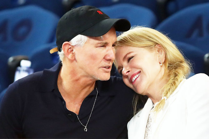Nicole Kidman speaks with friend and director Baz Luhrmann, Kidman has been directed by Luhrmann in highly acclaimed movies like 'Moulin Rouge' and 'Australia'