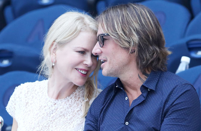 Hollywood's Australian superstar Nicole Kidman and her singer-songwriter husband Keith Urban at the Women's semi-final match between Petra Kvitova and Danielle Collins on Thursday