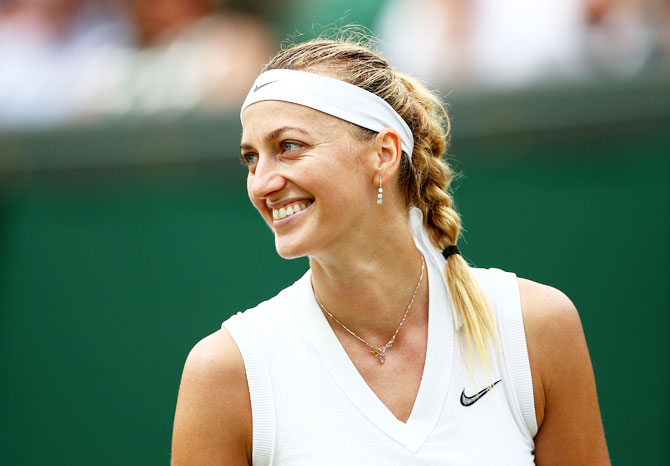 Czech Republic's Petra Kvitova is all smiles after winning her third round match against Poland's Magda Linette