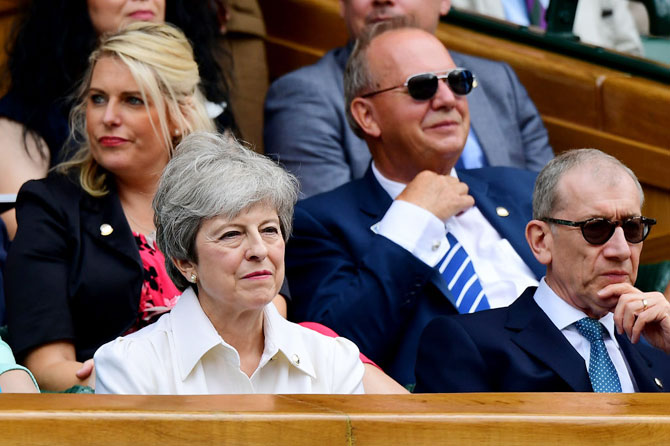 British Prime Minister Theresa May in the Royal Box
