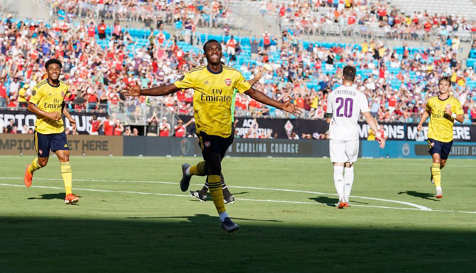 Arsenal's Eddie Nketiah (30) celebrates his goal against Fiorentina during the International Champions Cup soccer series at Bank of America Stadium in Charlotte, North Carolina in USA on Saturday