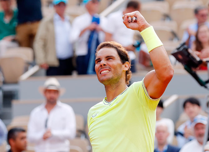 Rafael Nadal celebrates his victory over Kei Nishikori in their French Open quarters on Tuesday