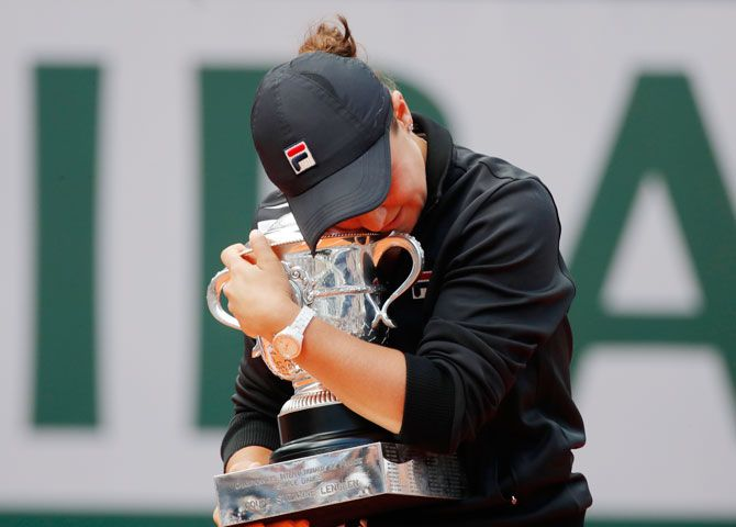 Ashleigh Barty with her cherished prize