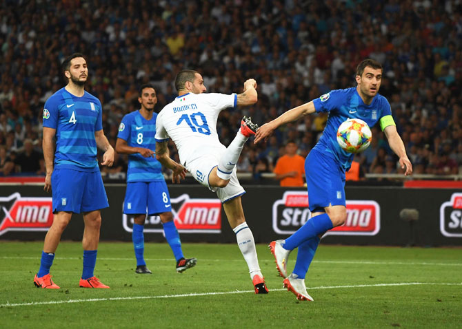 Italy's Leonardo Bonucci scores during the UEFA Euro 2020 Qualifier against Greece in Athens on Saturday