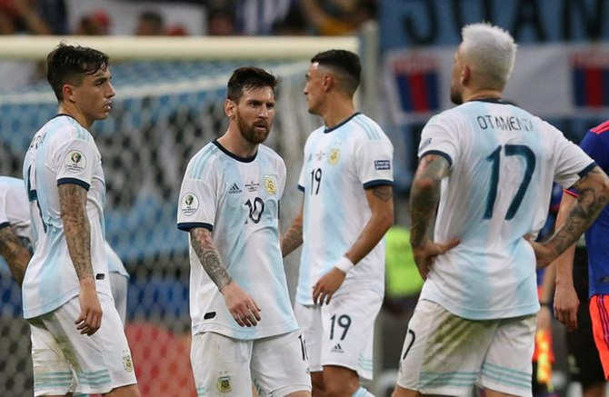 Lionel Messi and his Argentina team mates