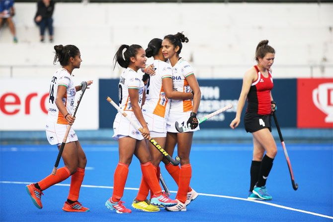 India players celebrate a goal against Poland on Sunday