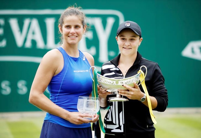 Australia's Ashleigh Barty poses with Germany's Julia Goerges after winning the Birmingham Classic grasscourt title on Sunday.