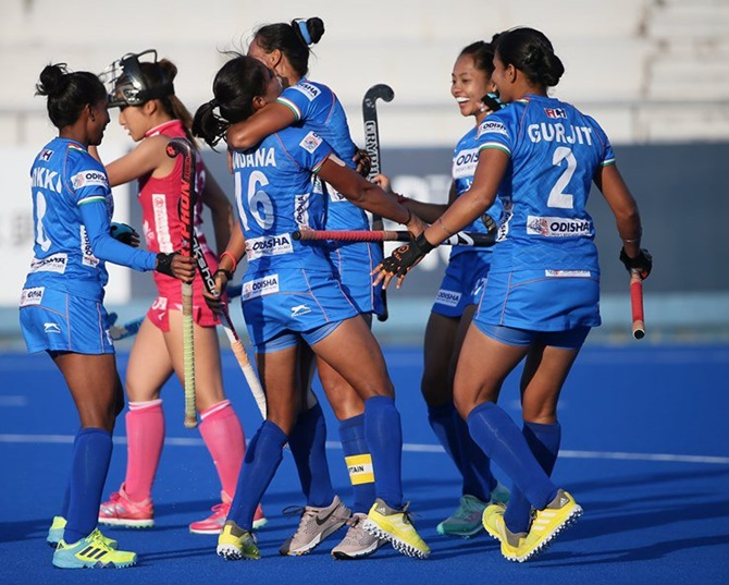 The Indian women's hockey team celebrates