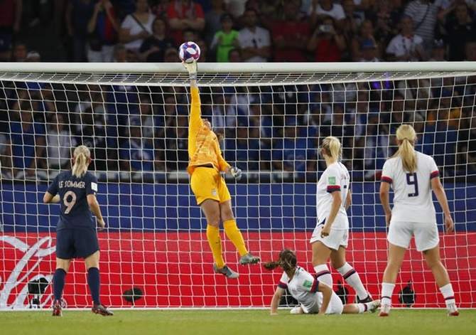 United States goalkeeper Alyssa Naeher makes a save.