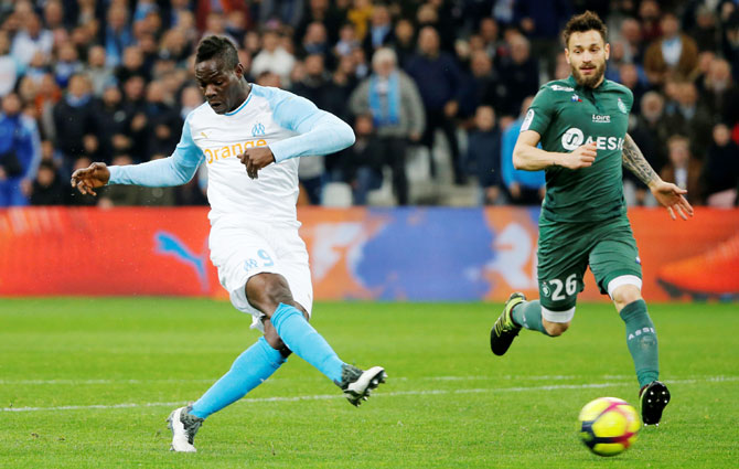 Marseille's Mario Balotelli scores against AS Saint-Etienne during their Ligue 1 match at Orange Velodrome, in Marseille, France, on Sunday