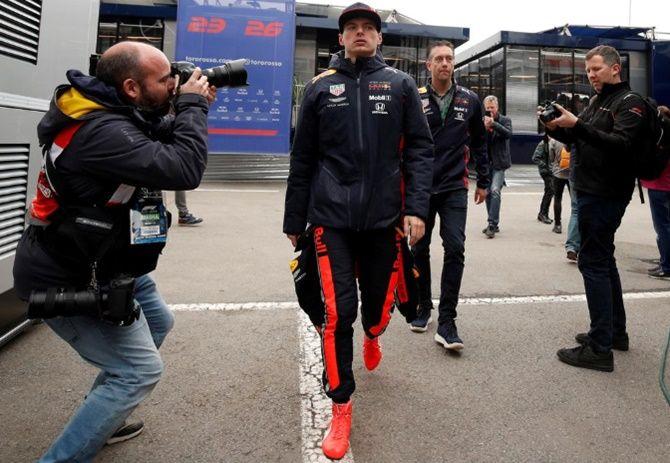 Red Bull's Max Verstappen during testing