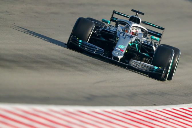 Mercedes' British driver Lewis Hamilton during testing at Circuit de Catalunya in Spain on February 28