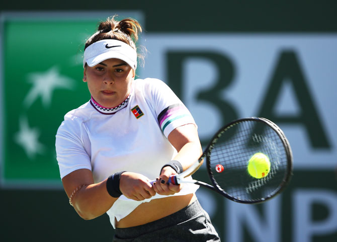Canada's Bianca Andreescu plays a backhand during her quarter-final win over Spain's Garbine Muguruza