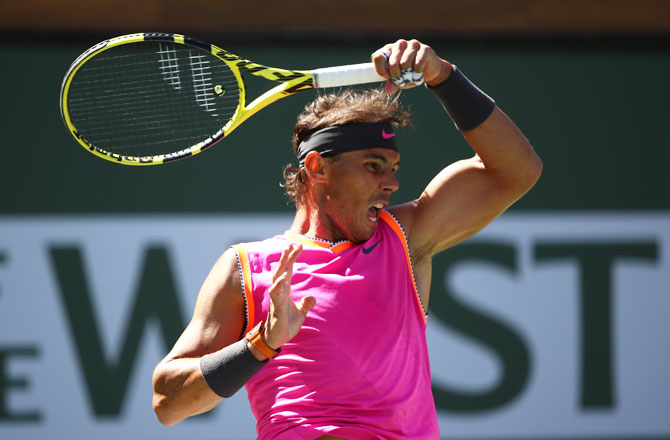 Spain's Rafael Nadal in action against Serbia's Filip Krajinovic during their men's singles fourth round match