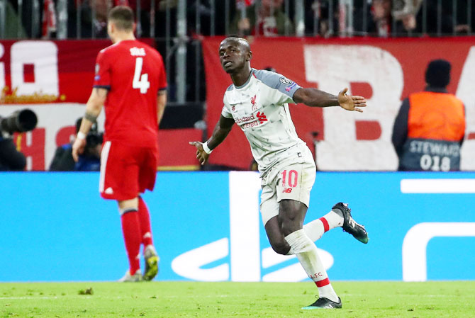Liverpool's Sadio Mane celebrates scoring their first goal against Bayern Munich in Liverpool at Allianz Arena in Munich, Germany, on Wednesday