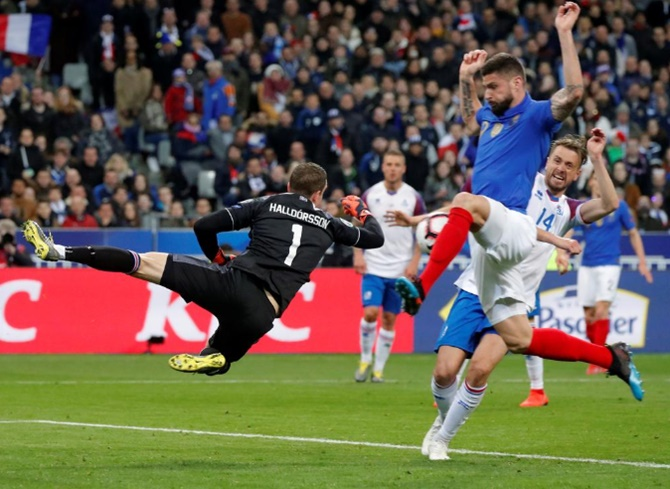 France's Olivier Giroud scores their second goal against Ireland in their second Euro 2020 qualifier in Paris on Monday, March 25