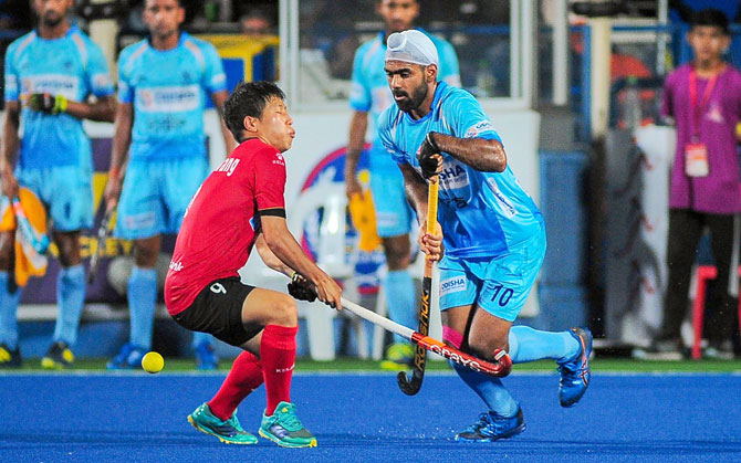 India's Simranjeet in action against Korea in the 28th Sultan Azlan Shah Cup final in Ipoh, Malaysia, on Saturday