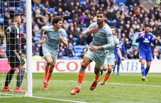Chelsea's Ruben Loftus-Cheek celebrates after he scores his side's second goal against Cardiff City at Cardiff City Stadium in Cardiff