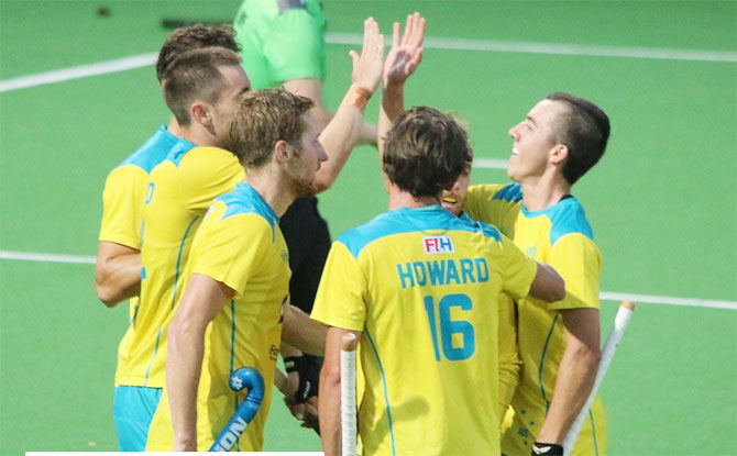 Australia players celebrate a goal against India in the 4th match on the Tour Down Under