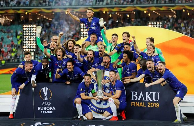 Chelsea's players celebrate winning the Europa League