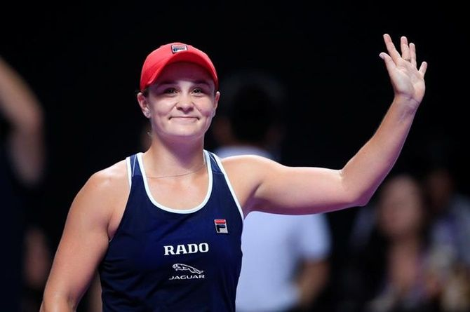 Australia's Ashleigh Barty celebrates after winning her semi-final against Czech Republic's Karolina Pliskova.