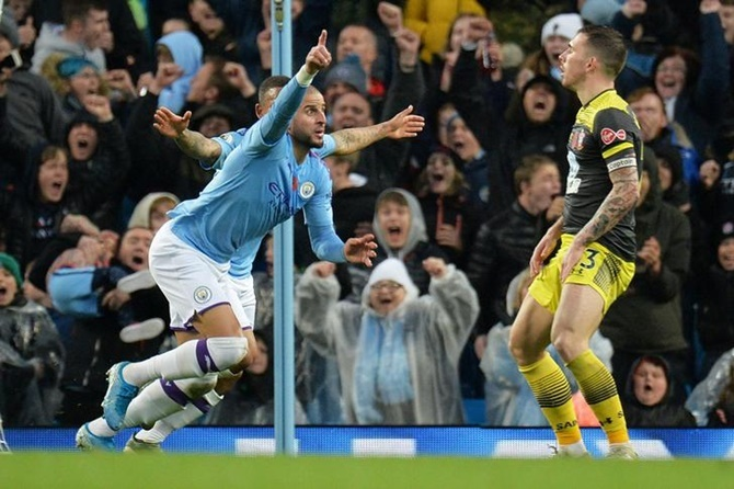 Kyle Walker celebrates scoring Manchester City's match-winning goal against Southampton