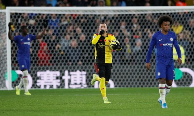 Gerard Deulofeu celebrates scoring for Watford from the penalty spot against Chelsea.