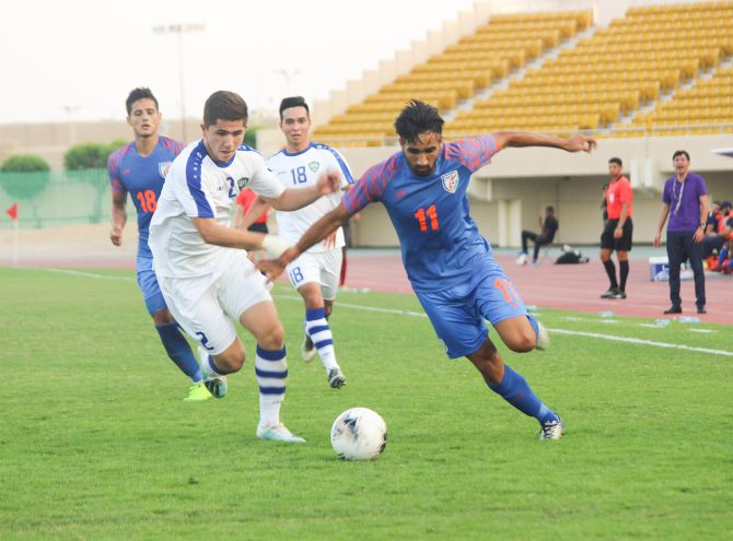 Action from the Under-19 match between India and Uzbekistan played in Al Khobar, Saudi Arabia, on Wednesday