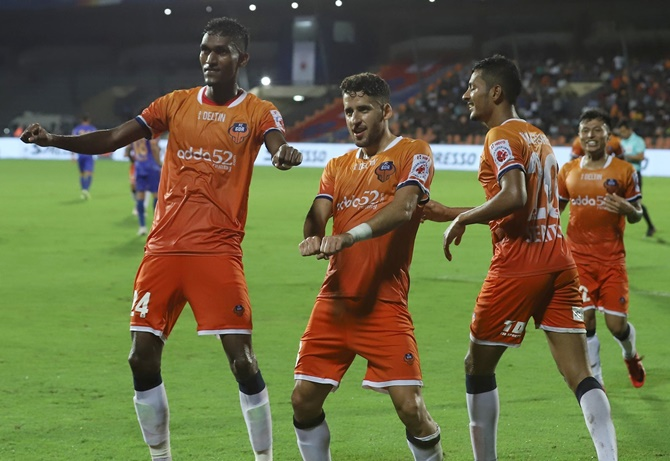 : Goa's players celebrate after their fourth goal against Mumbai FC