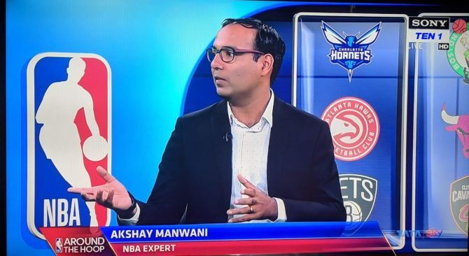 The NBA's Hindi commentator Akshay Manwani analyses games on the popular show Around the Hoop. Photograph: NBA India
