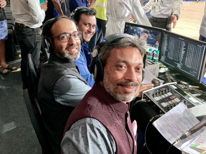 Raman Bhanot, Akshay Manwani, centre, and Munish Jolly were part of the Hindi commentary team for the NBA India game, the pre-season game between the Sacramento Kings and the Indiana Pacers on October 5. 'To sit courtside and call an NBA game live was a special experience for each one of us.' Photograph: NBA India