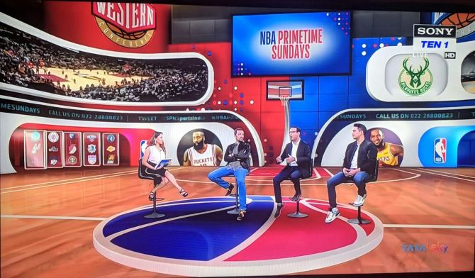 The NBA launched Prime Time Sunday last season. Manwani says he and his team constantly keep 'ourselves updated on developments in the league not just in terms of player movements from team-to-team, but also in terms of rule changes and what players do away from the court'. Photograph: NBA India